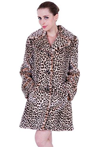 Adelaqueen Women's Vintage Leopard Print Faux Fur Lapel Coat Middle Length
