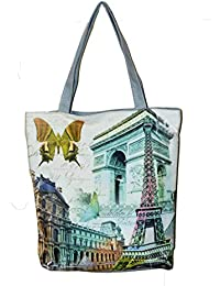 Women's Zipped Fashion Canvas Tote Heritage Design Large Space Zipper Hand Bag