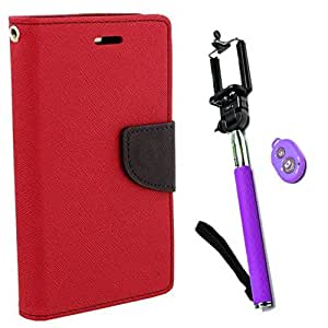 Aart Fancy Diary Card Wallet Flip Case Back Cover For HTC516 - (Red) +Remote Aux Wired Fashionable Selfie Stick Compatible for all Mobiles Phones By Aart Store