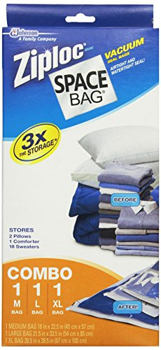 Space Bag #BRS-6239 Vacuum Seal Clear Storage Bags, Set of 3 (Medium, Large, Extra Large) (Ziploc Vaccum Bag compare prices)
