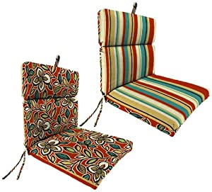Jordan Manufacturing Reversible Outdoor Chair Cushion, Ethan Scarlet/Wyken Stripe Scarlet by Jordan Manufacturing Co.