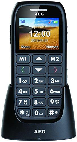 AEG Voxtel M310 GSM Großtasten Handy (4,6 cm (1,8 Zoll) Farb-Display, große Tasten, SOS Alarmfunktion Notruftaste, Taschenlampe, Taschenrechner, Dual-Band, Hörgerätekompatibel HAC) inkl. Tischladestation schwarz