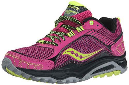 Saucony Women's Grid Excursion TR9 Trail Running Shoe, Pink/Grey/Citron, 8 M US (Citron Panel compare prices)