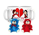 Tied Ribbons I Love you Printed 2 Coffee Mugs with 2 Teddys Exclusive Gift