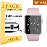 Apple Watch 38mm Screen Protector (Series 2) Full Coverage 2 Pack Asstar Anti-Bubble, Ultra-Thin Ultra HD Premium Tempered Glass Screen Protector For Apple Watch 2 38mm (2 pack)