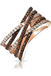 Valentine Gifts Criss Cross Rose Gold Plated Pave Clear and Coffee CZ Ring