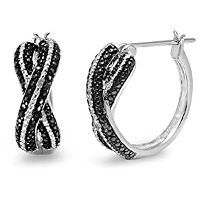 Black and White Diamond Hoop Earrings set in Sterling Silver
