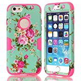For iPhone 6 Case, Karia® Designer Pattern Dual Layer Hybrid Silicon Hard Case Cover for Apple iPhone 6, iPhone Air 4.7 inch 2014 Version -K Orchid Rose