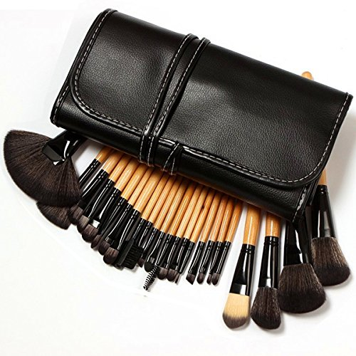 Kosee Beauty Makeup Set Pennelli Bambù Cosmetici Professionale Essenziale 24 Pezzi Kit Pennelli Trucco con Borsetta da Viaggio