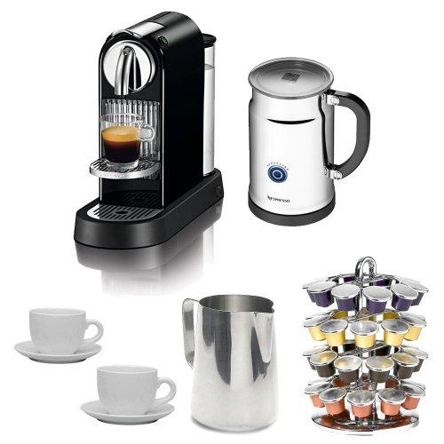 Nespresso Citiz D111 Limousine Black Eco/Aero Espresso Machine + Nifty 5510 40 Capsule Coffee Carousel + Accessory Kit