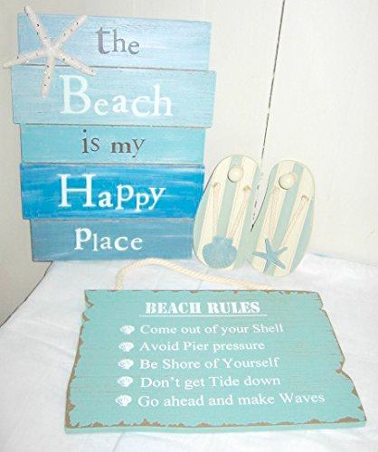 The-Beach-Is-My-Happy-Place-Sign-Beach-Rules-Sign-Pair-of-Sandal-Wall-Hooks-4-Pc-Beach-Bundle