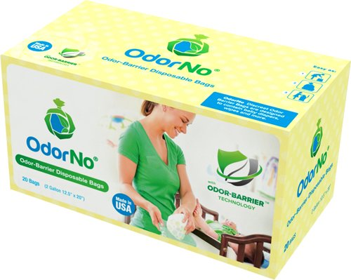 OdorNo Odor-Barrier Eco-Friendly Disposable Bags for Diapers, Pet Waste, Household Use (2Gallon Baby - 20 Bags)