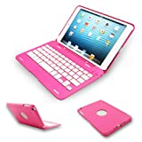 Kamor® Apple iPad mini Keyboard Case High Quality Cover with Ultra Slim Bluetooth Keyboard for 7.9 inch New iPad Mini, Folio Style with IOS Commands - Pink