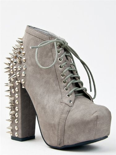 FRANCHESKA-07 Lita Spike and Stud Chunky High Heel Platform Lace Up Ankle Boot Bootie