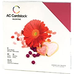 American Crafts 12-Inch by 12-Inch Cardstock Pack Valentine 60-Page