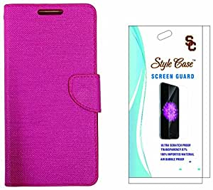 STYLE CASE Flip Cover Case with Screen Guard for Infocus M530 - Pink