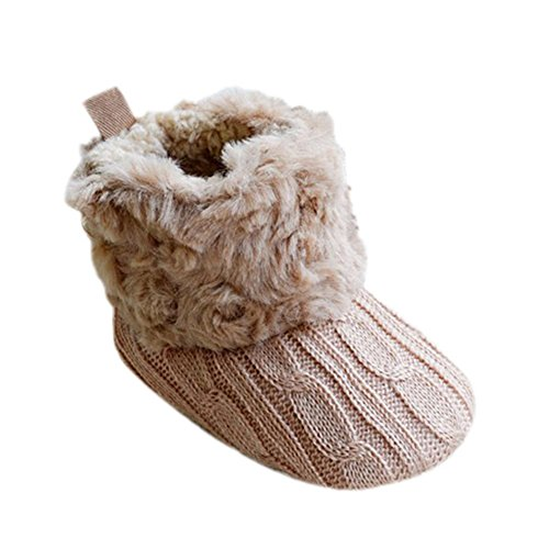 Weixinbuy Baby Girls Knit Soft Fur Winter Snow Boots Crib Shoes Khaki 6-12M