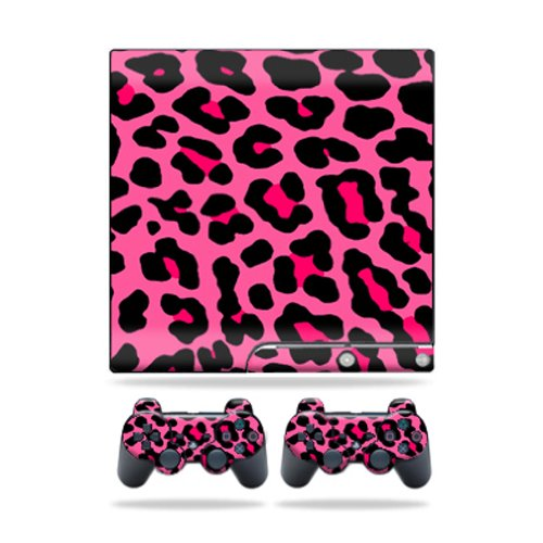 Protective Vinyl Skin Decal Cover for Sony Playstation 3 PS3 Slim Skins + 2 Controller Skins Sticker Pink Leopard
