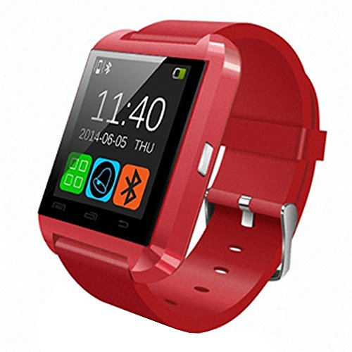 Hopcentury Bluetooth Smart Watch Wrist Watch Sync Phone Call Sms App Notification With Barometer Altimeter Pedometer Stopwatch Anti-Lost For Android Cellphones Samsung Galaxy Htc Lg Nexus And Ios Apple Iphone(Partial Functions) (Red Color)