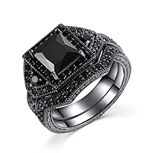 Castillna Black Sterling Silver Princess Cut Created Black Diamond Wedding Engagement Rings Bridal Set