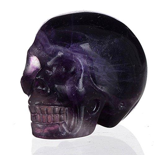 "Mineralbiz 1.5"" Natural Purple Fluorite Carved Crystal Skull, Good Polished Human Skull Carving, Crystal Healing Reiki Sculpture"