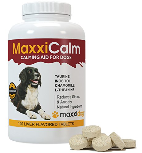 Dog Calming Aids – MaxxiCalm – Separation Anxiety & Stress Relief – BEST Natural Ingredients – FREE Canine Behavior Modification Guide – Relax Tense & Hyper Pets – Relieve Nervous Behavior – Manage Aggression & Calm Down Fear – Comfort Supplement Treatment For Small, Medium & Large Dogs – 120 Liver Flavored Tablets