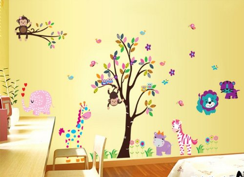 Removable Wall Stickers Cartoon Zoo Animals Children's Bedroom Wall Decor