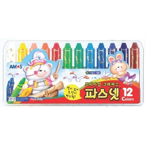 Amos Premium Non-toxic Silky Crayon Pasnet 12 Colors - 1