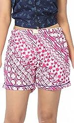Abony Women's Pink Cotton Short (Size:XL)
