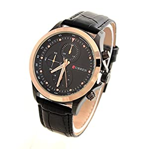 CURREN 8138 Men's Fashionable Water Resistant Wrist Watch with Faux Leather Band-Black
