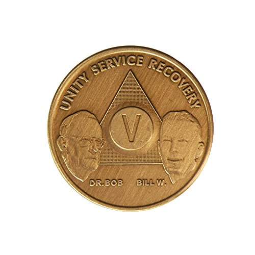 5 Year Bill & Bob Founders Edition Bronze AA (Alcoholics Anonymous) Birthday - Sober / Sobriety / Anniversary / Recovery / Medallion / Coin / Chip - 1