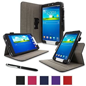 "rooCASE Samsung Galaxy Tab 3 8.0 Case - Dual View Multi-Angle Stand Tablet 8-Inch 8"" Cover - BLACK (With Auto Wake / Sleep Cover)"