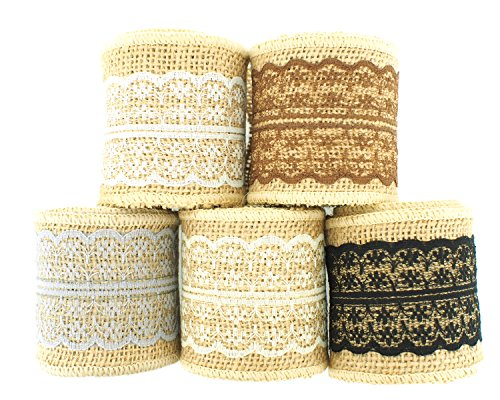 "Best Buy! Trimweaver 10-Yard 2.5"" Natural Burlap Ribbon with Lace Ribbon Variety Pack for Craft..."