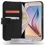 Yousave Accessories Samsung Galaxy S6 Tasche Schwarz PU Leder Brieftasche H�lle
