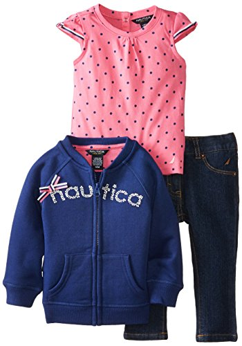 Nautica Baby-Girls Infant 3Pc Fleece Jacket And Set, Med Navy, 12 Months