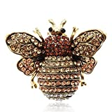 Coostyle Yellow Rhinestone Bee Quartz Finger Ring Watch Gold Clamshell Watches for Women