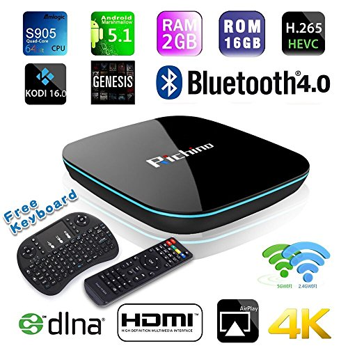 2016 NEWEST Richino Q Box Android 5.1 4K TV BOX Amlogic S905 2GB +16 GB With KODI 16.0 Bluetooth 4.0 ,2.4GHz/5GHz Dual Band Wi-Fi + I8 Wireless Keyboard Fully Loaded Smart Streaming Media Player (Free Tv Box compare prices)