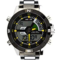 Weide Mens Fashion Dual Time Display Stainless Steel Watch WH1104-SY
