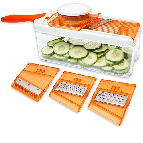Adjustable Mandoline Slicer - 4 Blades - Vegetable Cutter, Peeler, Slicer, Grater & Julienne Slicer (Fruit And Vegetable Slicer compare prices)