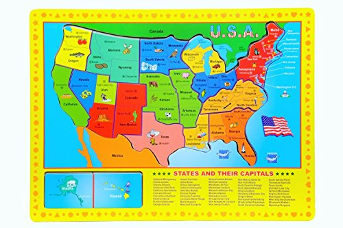 USA States & Capitals 10 Piece Wooden Puzzle - 1