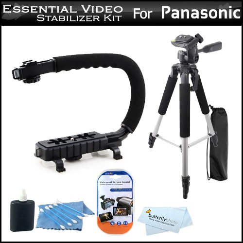 Essential Video Stabilizer Kit For Panasonic Sdr-H100K Camcorder Includes Axis-G Camcorder Action Stabilizing Handle + 57 Full Tripod W/Case + Lcd Screen Protectors + 3Pc Cleaning Kit + Microfiber Cloth