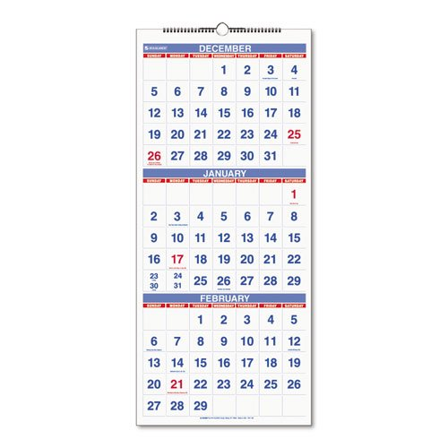 AT-A-GLANCE® – Recycled Three-Month Reference Wall Calendar, 12″ x 27″ – Sold As 1 Each – Large easy-to-read numbers for all three months.
