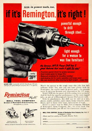 1957 Ad Remington 149B Power Drill Mall Tools Electric Saw Belt Orbital Sander - Original Print Ad