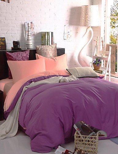 WAKXZH ® bicolore copertura federe lenzuolo piumino (+ viola rosa)