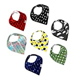 Premium Baby Bandana Drool Bibs with 3 Snaps by Ana Baby 7-Pack 100% Organic Cotton For Boys and Girls Free Pacifier Clip+E book+Gift bag-Options Available