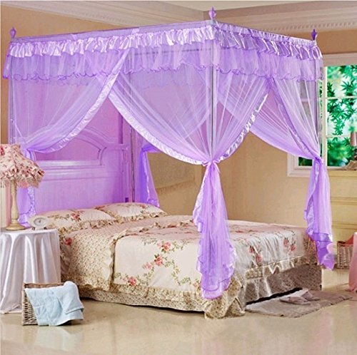 Violet Valentine's 4 Corners Lace Bed Curtain Canopy Mosquito Netting (Queen)