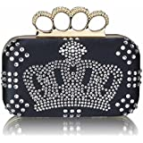 Damen Marineblau Crown Design Diamanten Designer Clutch Abendtasche KCMODE