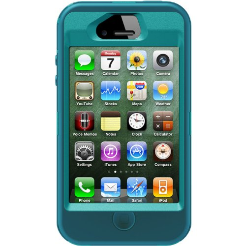 OtterBox Defender Series Case and Holster for iPhone 4/4S  - Retail Packaging - Teal/Blue