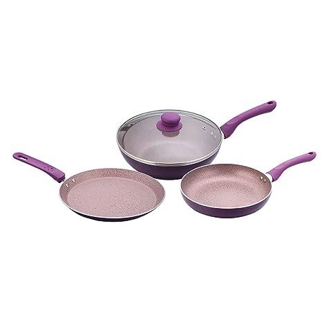 Wonderchef Royal Velvet Plus Induction Base Cookware Set, 3-Pieces, Purple at amazon