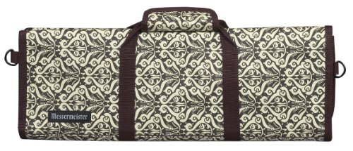Messermeister 12-Pocket Padded Knife Roll, Brown And Cream Paisley